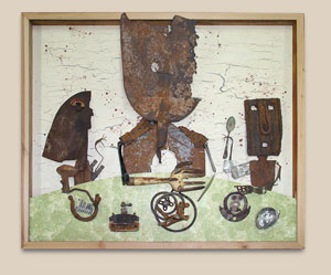 Assemblage artwork of scrap metal pieces.