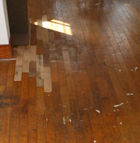 Hardwood floor, before.